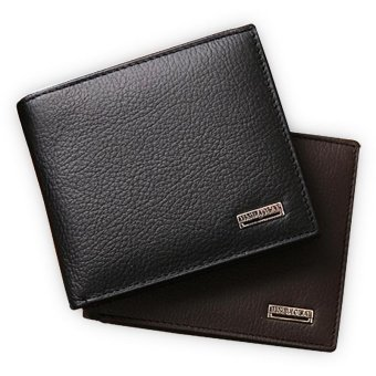 100% genuine leather mens wallet premium product real cowhide wallets for man short black walet portefeuille homme(black) - intl Price Philippines