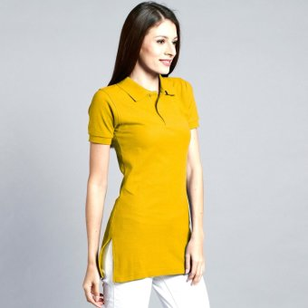 Longline Polo Shirt with Side Slit for Ladies (Gold) Price Philippines
