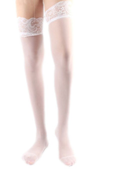 LALANG Sexy Women Stockings Lace Top Comfy Lingerie Socks (White) Price Philippines