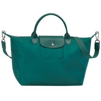 Harga Longchamp Le Pliage Neo Small Short Handle Nylon With Sling - EMERALD GREEN