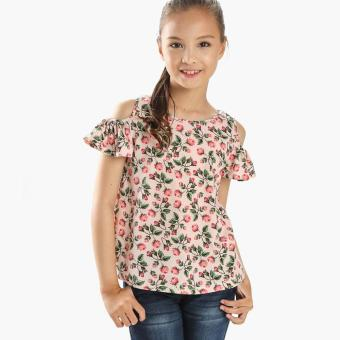 Harga Little Miss Girls Roses Cold-shoulder Top (Pink)