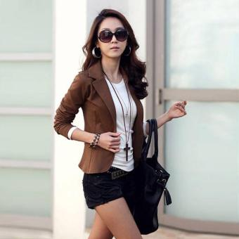 Harga MG OL Coat Lapel One Button Short Suit Blazer Outerwear (Coffee) - intl