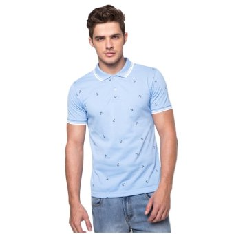 Newyork Army Men's Polo Shirt Anchor Design - Light Blue Price Philippines