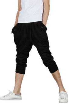 Harga Hanyu Man 3/4 Sweatpants Hiphop Black - Intl