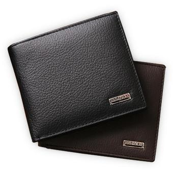 100% Genuine Leather Mens Wallet Premium Product Real Cowhide Wallets for Man Short Black Walet Portefeuille Homme(brown) - intl Price Philippines