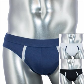 Logan 3pc Regular Fit Cotton Stretch Brief DSN# 9955-1 by Le Brian (Black-White-Moonlight Blue) Price Philippines