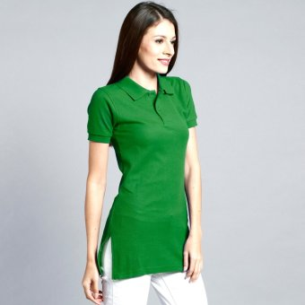 Longline Polo Shirt with Side Slit for Ladies (Fern Green) Price Philippines