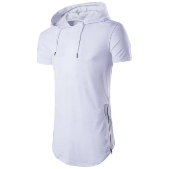 Harga Mens Hipster Hip Hop Short Sleeve Longline Pullover Hoodies Shirts White - intl