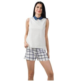 Harga Plains & Prints Kayak Sleeveless Top (White)