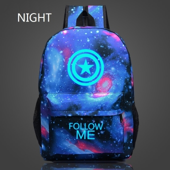 "18"" The Avengers Captain America Noctilucent Star Sky Pattern Teenage Backpack for Boys Girls Sports School Bags Price Philippines"