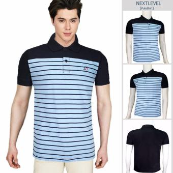 Harga NEXTLEVEL 7710 Classic Performance Short Sleeve Stripe Polo Shirt (MEDIUM)(BabyBlue-Black)