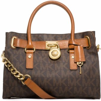 Harga Michael Kors Hamilton MK Logo Satchel Bag (Brown)