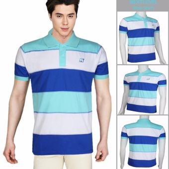 Harga 7781 NEXTLEVEL Classic Performance Short Sleeve Stripe Polo Shirt (LARGE)(White-Blue-Turquoise)