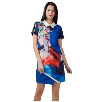 Harga Plains & Prints Cascade Short Sleeves Dress (Multi)