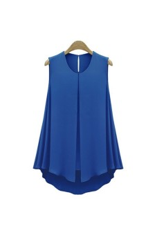 Harga Moonar Round Neck Front Slit Chiffon Sleeveless Blouse (Blue) - intl