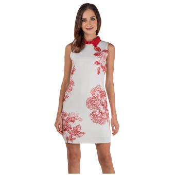 Harga Plains & Prints Hibiscus Sleeveless Dress (Red/White)