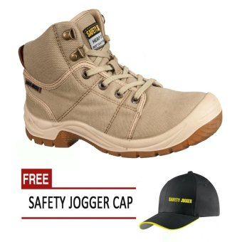 Safety Jogger Desert (Brown) S1P High Cut Men Safety Shoes Footwear Steel Toe with Free Safety Jogger Cap Price Philippines