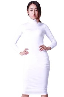 Hang-Qiao Sexy Women Bodycon Slim Long-Sleeved Dress White Price Philippines