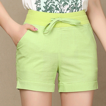 Harga Ladies Leisure Candy Color Elastic Waist Linen Shorts (Green) (Intl)