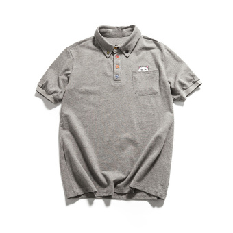 Indie solid color summer Fold-down collar polo shirt (Gray) (Gray)