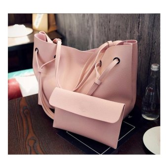 Isabel K040 Oversize Fancy Shoulder Bag with Matching Pouch (Pink)