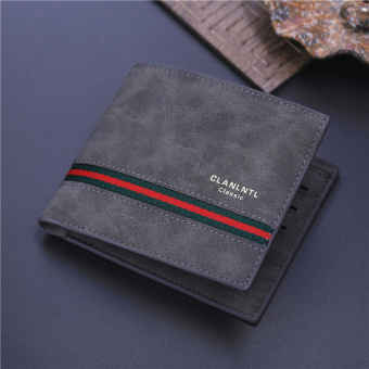 Japan and South Korea cross business thin leather wallet men's wallet (Dark gray color)