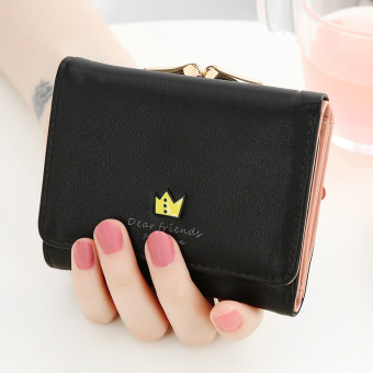 Japan and South Korea female mini purse bag women's wallet (Black)