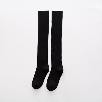 Japanese-style cotton autumn long leg socks-and knee socks (Black)