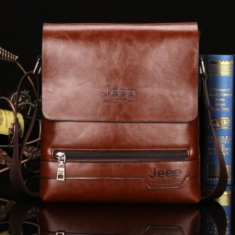 Jeep Cowhide Leather Crossbody Bag Shoulder Bag Men Tote Bag Business Casual Messenger Bag (Big Size / Coffee) Price Philippines