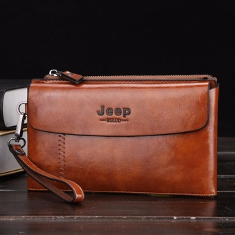 Jeep Men's Genuine Cowhide Leather Handbag Male Korean Fashion High-capacity Wallet Youth Business Casual Purse Bag-Brown - intl Price Philippines
