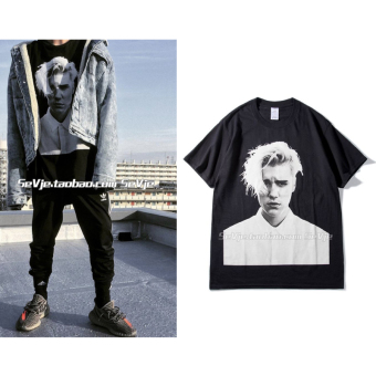 Justinbieber portrait printed purpose tour commemorative models for men and women BF wind couple's t summer short sleeved tide