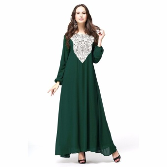Kaftan Jilbab Islamic Abaya Muslim Dress (Green) - Intl