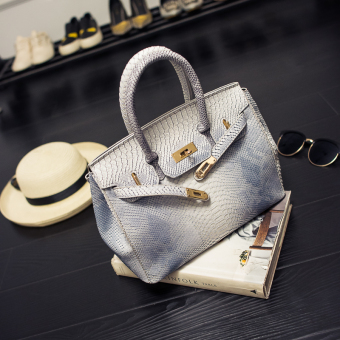 Kelly crocodile Pattern Bag shoulder bag (Gray)