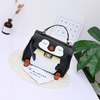 Kelly Korean-style New style smiley printed shoulder women's bag (Black penguin paragraph)