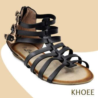 Khoee 4-AZ-332 Black Strappy Women's Flat Sandals