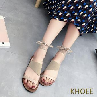 Khoee AZ-433 Sandy Beige Lace Up Women's Ballet Flat Sandals