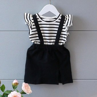 Kids Baby Girls Summer Stripe Sleeveless Strap Dress A-line Dress Clothes - intl