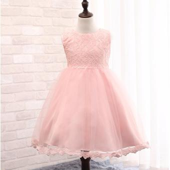 Kids Birthday Party Dress Gown Christening Baptismal Dress PrincessFlower Girl Dress Formal Dress Bowknot Floral Sleeveless DressPhotography Pictorial Gown (PINK)