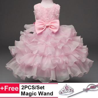 Kids Girls Party Wedding Princess Formal Ball Gown Flower RoseLayer Tutu Dress(Pink) - intl