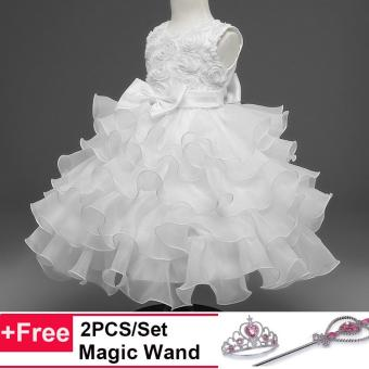 Kids Girls Party Wedding Princess Formal Ball Gown Flower RoseLayer Tutu Dress(White) - intl