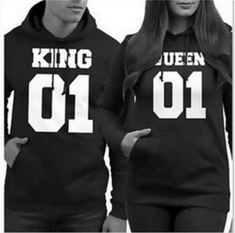 King&Queen Sweatshirt Pullover Long Sleeve Couples FashionLoose Hoodie Pocket Couple's Hoodie Hoodies & SweatshirtsCasual Couples Sweatshirt - intl Price Philippines