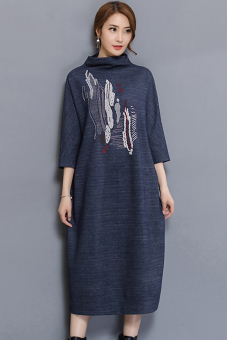 Knitted New style Loose and plus-sized dress (Denim blue)