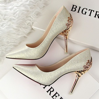 KOKO Fashion High-Heeled Shoes Woman Pumps Sexy Thin Heels High Heels Suede Pointed Toe Women Shoes Closed Toe Ladies Wedding Shoes (Gold)