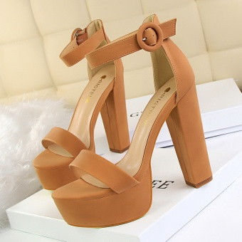 KOKO Peep Toe Heeled Sandals Women Shoes Round Toe Square Heel High Heels Sandals Women Platform High-Heeled Shoes (Camel) Price Philippines