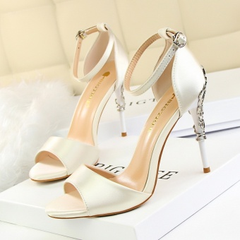 KOKO Sexy High Heels Sandals Women Fashion Peep Toe Heeled Sandals Ankle Strap Wedding Shoes Round Toe Stiletto High-Heeled Shoes (White)