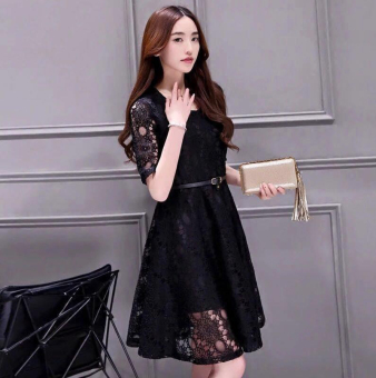 Korean Lace Midi Dress Black