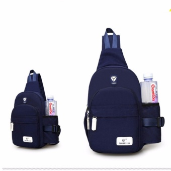 Korean Men Women Chest Sling Shoulder Backpack Chest Pack Canvas Backpack Outdoor Crossbody Ride Luggage Waterproof  Bag TRAVEL KETTLE Bag(Dark Blue) - intl