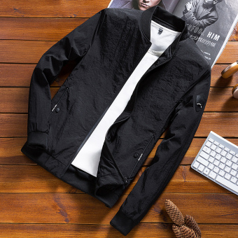 Korean-style autumn and winter Slim Fit Youth jacket men's jacket (A paragraph black color)