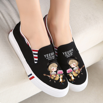 Korean-style autumn New style students a pedal shoes (Black guitar girl)
