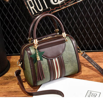Korean-style bag female New style Shishang shoulder handbag Boston bag (Dark green color)